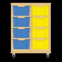 Storix Materiaalkast 12 beuken, B710xH856xD465 - laden blauw-geel