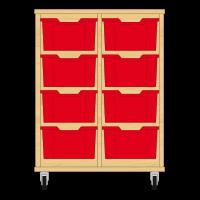 Storix Materiaalkast 12 beuken, B710xH856xD465 - laden rood