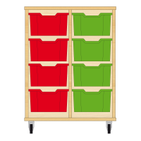 Storix Materiaalkast 12 beuken, B710xH856xD465 - laden rood-groen
