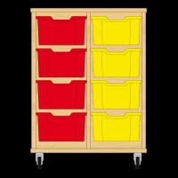 Storix Materiaalkast 12 beuken, B710xH856xD465 - laden rood-geel
