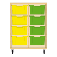 Storix Materiaalkast 12 beuken, B710xH856xD465 - laden geel-groen