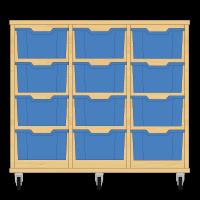 Storix Materiaalkast 12 beuken, B1050xH856xD465 - laden blauw