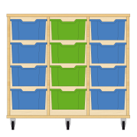 Storix Materiaalkast 12 beuken, B1050xH856xD465 - laden blauw-groen-blauw
