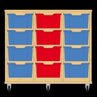 Storix Materiaalkast 12 beuken, B1050xH856xD465 - laden blauw-rood-blauw