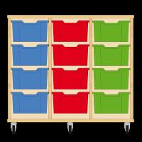 Storix Materiaalkast 12 beuken, B1050xH856xD465 - laden blauw-rood-groen