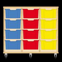 Storix Materiaalkast 12 beuken, B1050xH856xD465 - laden blauw-rood-geel