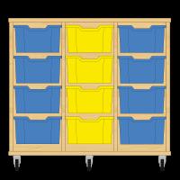 Storix Materiaalkast 12 beuken, B1050xH856xD465 - laden blauw-geel-blauw