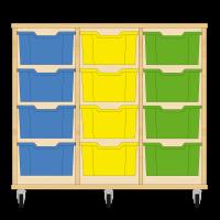 Storix Materiaalkast 12 beuken, B1050xH856xD465 - laden blauw-geel-groen