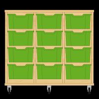 Storix Materiaalkast 12 beuken, B1050xH856xD465 - laden groen