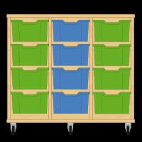 Storix Materiaalkast 12 beuken, B1050xH856xD465 - laden groen-blauw-groen