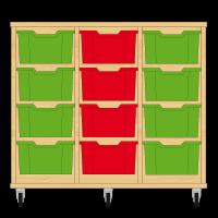 Storix Materiaalkast 12 beuken, B1050xH856xD465 - laden groen-rood-groen