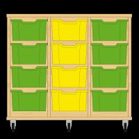 Storix Materiaalkast 12 beuken, B1050xH856xD465 - laden groen-geel-groen
