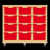 Storix Materiaalkast 12 beuken, B1050xH856xD465 - laden rood