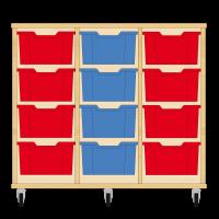 Storix Materiaalkast 12 beuken, B1050xH856xD465 - laden rood-blauw-rood
