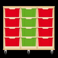 Storix Materiaalkast 12 beuken, B1050xH856xD465 - laden rood-groen-rood