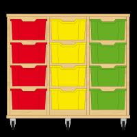 Storix Materiaalkast 12 beuken, B1050xH856xD465 - laden rood-geel-groen