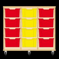 Storix Materiaalkast 12 beuken, B1050xH856xD465 - laden rood-geel-rood