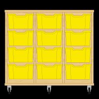 Storix Materiaalkast 12 beuken, B1050xH856xD465 - laden geel