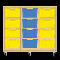 Storix Materiaalkast 12 beuken, B1050xH856xD465 - laden geel-blauw-geel