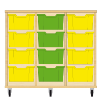 Storix Materiaalkast 12 beuken, B1050xH856xD465 - laden geel-groen-geel