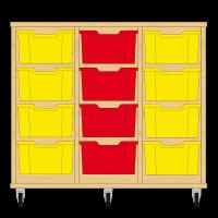 Storix Materiaalkast 12 beuken, B1050xH856xD465 - laden geel-rood-geel