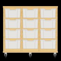Storix Materiaalkast 12 beuken. B1050xH856xD465 - laden transparant