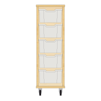 Storix Materiaalkast 12 beuken. B370xH1028xD465 - laden transparant