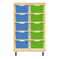 Storix Materiaalkast 12 beuken, B710xH1028xD465 - laden blauw-groen