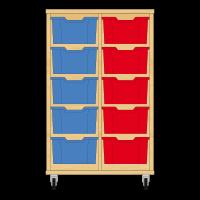 Storix Materiaalkast 12 beuken, B710xH1028xD465 - laden blauw-rood