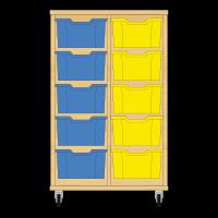 Storix Materiaalkast 12 beuken, B710xH1028xD465 - laden blauw-geel