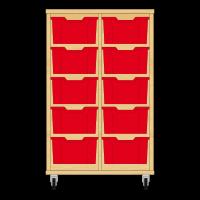 Storix Materiaalkast 12 beuken, B710xH1028xD465 - laden rood