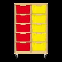 Storix Materiaalkast 12 beuken, B710xH1028xD465 - laden rood-groen