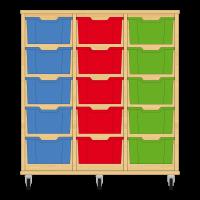 Storix Materiaalkast 12 beuken, B1050xH1028xD465 - laden blauw-rood-groen
