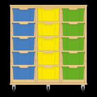 Storix Materiaalkast 12 beuken, B1050xH1028xD465 - laden blauw-geel-groen