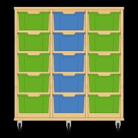 Storix Materiaalkast 12 beuken, B1050xH1028xD465 - laden groen-blauw-groen