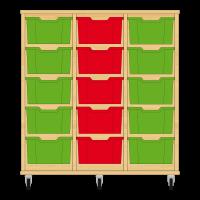 Storix Materiaalkast 12 beuken, B1050xH1028xD465 - laden groen-rood-groen