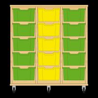 Storix Materiaalkast 12 beuken, B1050xH1028xD465 - laden groen-geel-groen