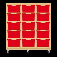 Storix Materiaalkast 12 beuken, B1050xH1028xD465 - laden rood