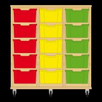 Storix Materiaalkast 12 beuken, B1050xH1028xD465 - laden rood-geel-groen