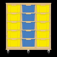 Storix Materiaalkast 12 beuken, B1050xH1028xD465 - laden geel-blauw-geel