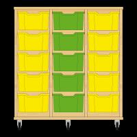 Storix Materiaalkast 12 beuken, B1050xH1028xD465 - laden geel-groen-geel