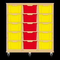 Storix Materiaalkast 12 beuken, B1050xH1028xD465 - laden geel-rood-geel