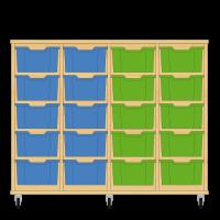 Storix Materiaalkast 12 beuken, B1390xH1028xD465 - laden blauw-blauw-groen-groen
