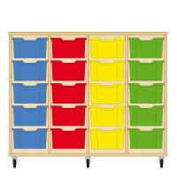 Storix Materiaalkast 12 beuken, B1390xH1028xD465 - laden blauw-rood-geel-groen
