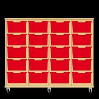Storix Materiaalkast 12 beuken, B1390xH1028xD465 - laden rood