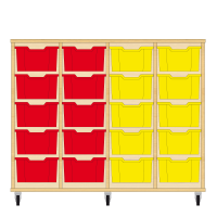 Storix Materiaalkast 12 beuken, B1390xH1028xD465 - laden rood-rood-geel-geel