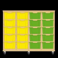 Storix Materiaalkast 12 beuken, B1390xH1028xD465 - laden geel-geel-groen-groen