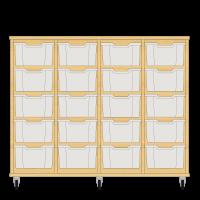 Storix Materiaalkast 12 beuken. B1390xH1028xD465 - laden transparant