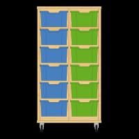 Storix Materiaalkast 12 beuken, B710xH1200xD465 - laden blauw-groen