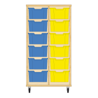 Storix Materiaalkast 12 beuken, B710xH1200xD465 - laden blauw-geel